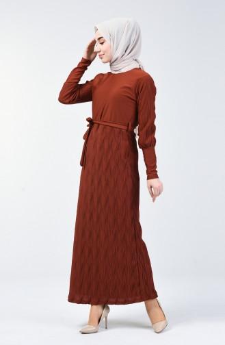 Kuşaklı Piliseli Elbise 4400-05 Kiremit