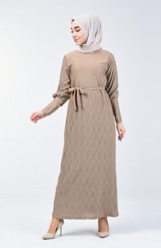 Kuşaklı Piliseli Elbise 4400-07 Bej