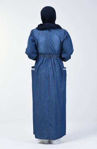 Büyük Beden Lastikli Kot Elbise 5032-01 Lacivert