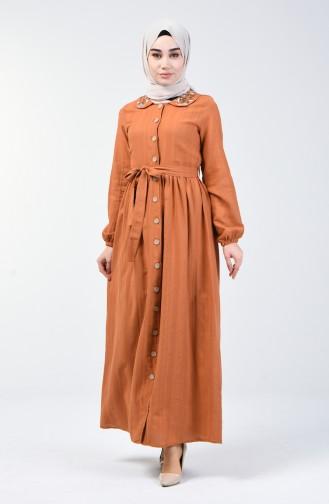 Bebe Yaka Keten Elbise 6002-01 Taba