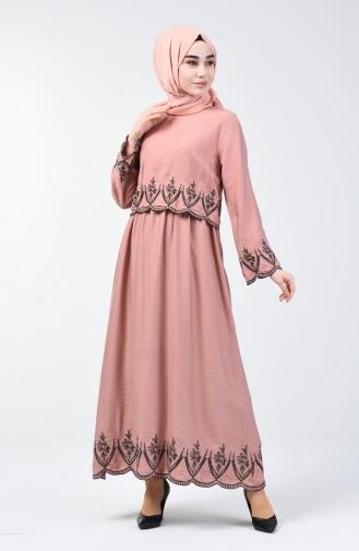 Aerobin Kumaş Nakışlı Elbise 6034-04 Pudra