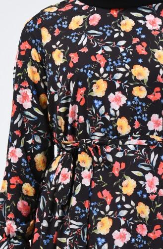 Çiçek Desenli Tunik 0036B-01 Siyah 0036B-01