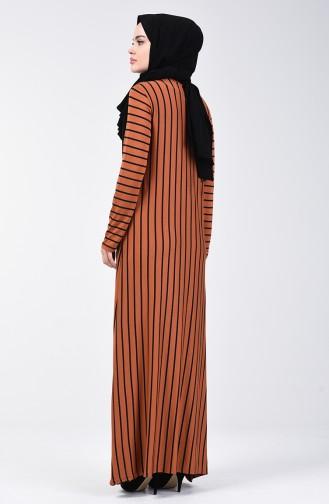 Çizgili Viskon Elbise 7992-01 Taba