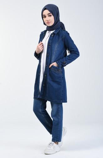 Veste Jean à Poche 6088-01 Bleu Marine 6088-01