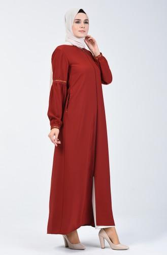 Abaya Brodée à Manches Ballon 5015-05 Tabac 5015-05