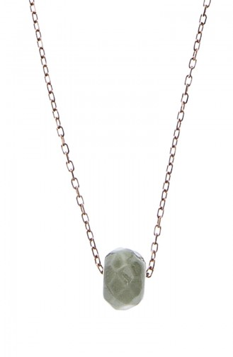 Doğal Taşlı Faset Kesim 925 Ayar Gümüş Kolye P2164 Renkli