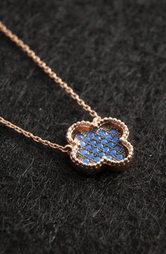 Collier Van Kliff Bleu Nano en Argent Sterling 925 Pour Femme Plaqué Rose PP2036Rose 2036