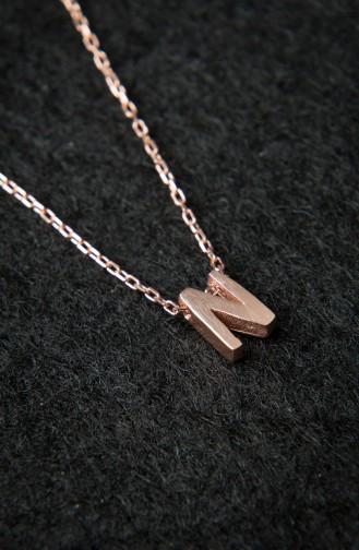 Kadın Üç Boyutlu HarfRose Kaplama 925 Ayar Gümüş Kolye PP2208 Rose