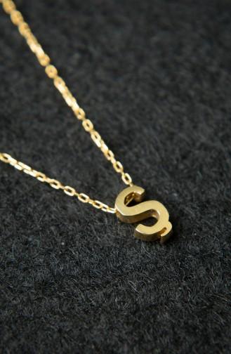 Kadın Üç Boyutlu HarfAltın 925 Ayar Gümüş Kolye PP2215 Altın