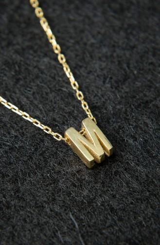 Kadın Üç Boyutlu HarfAltın 925 Ayar Gümüş Kolye PP2216 Altın