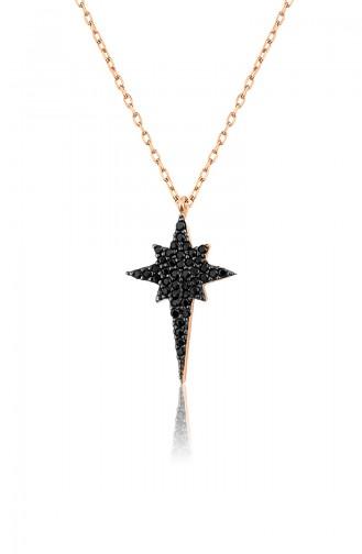 Kadın Kutup Yıldızı Model Zirkon Taşlı 925 Ayar Gümüş Kolye PP2354 Rose
