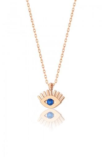 Mavi Doğal Taşlı Göz Model 925 Ayar Gümüş Kolye PP2381 Rose