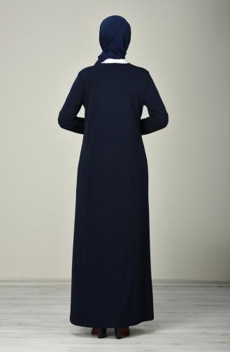 Abaya à Fermeture 8150-01 Bleu Marine 8150-01