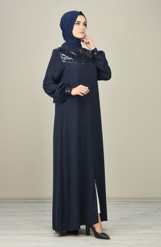 Sequined Abaya Navy Blue 8133-02