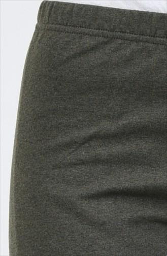 بنطال واسع بخيوط مزدوجة أخضر كاكي فاتح 8108-11