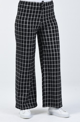 İki İplik Bol Paça Pantolon 8108B-01 Siyah