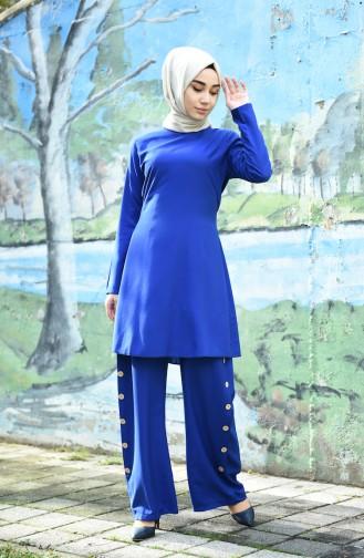 Ensemble Deux Pieces Tunique Pantalon 10112-09 Bleu Roi 10112-09