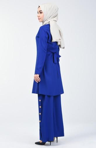 Bağcıklı Tunik Pantolon İkili Takım 10112-09 Saks 10112-09