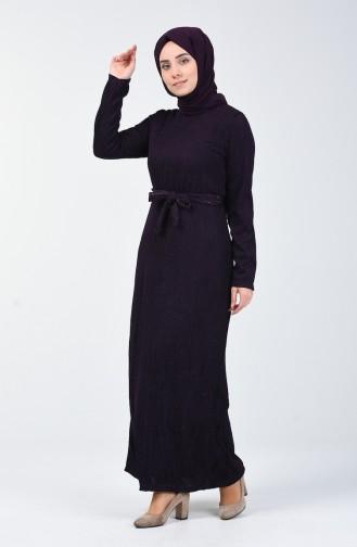 Simli Kuşaklı Elbise 0030-02 Mor
