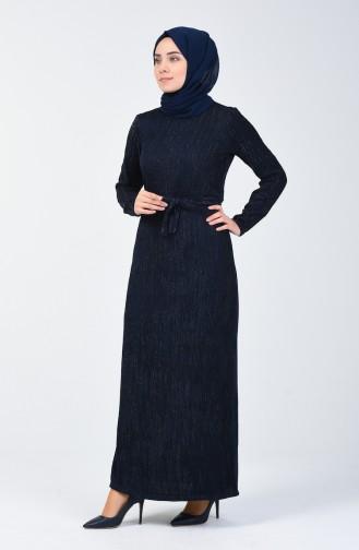 Simli Kuşaklı Elbise 0030-04 Lacivert 0030-04