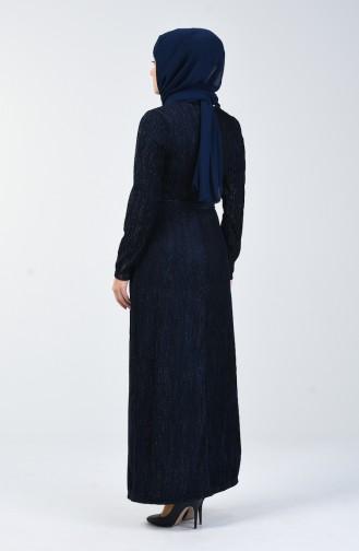 Simli Kuşaklı Elbise 0030-04 Lacivert