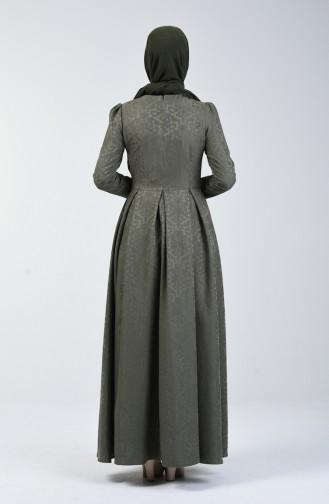 Jakarlı Pileli Elbise 7262-01 Haki