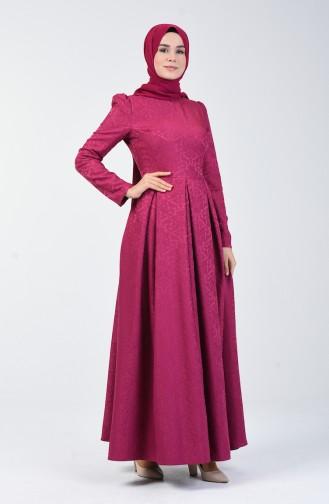 Jakarlı Pileli Elbise 7262-03 Fuşya