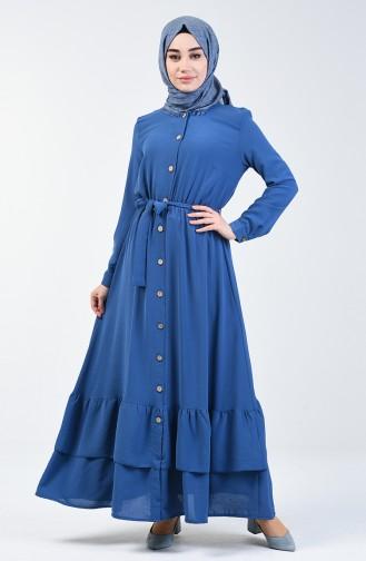 Aerobin Kumaş Boydan Düğmeli Elbise 0067-04 İndigo
