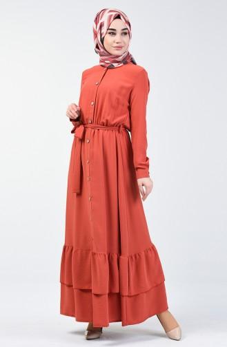 Ziegelrot Hijap Kleider 0067-05