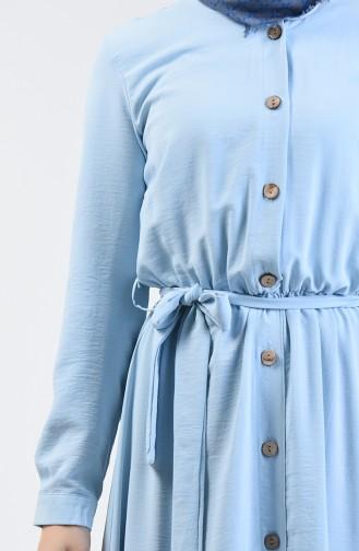 Aerobin Kumaş Boydan Düğmeli Elbise 0067-07 Bebe Mavi 0067-07