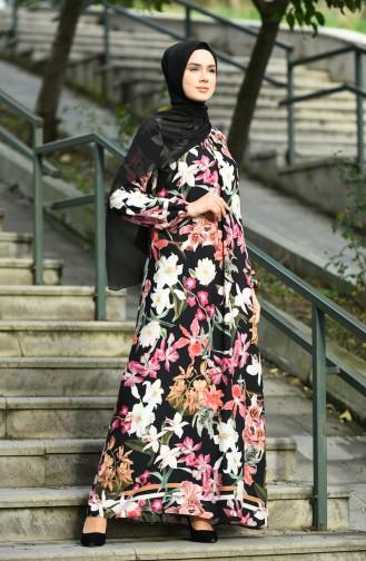 Çiçek Desenli Elbise 8170-01 Siyah