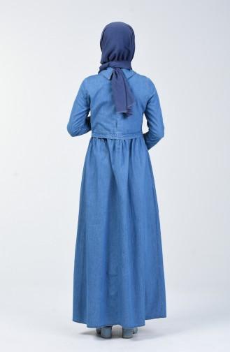 İncili Kot Elbise 5000-01 Kot Mavi