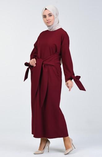 Önden Bağlamalı Elbise 0051-03 Mürdüm
