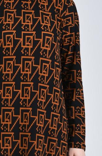 Desenli Elbise 7994-01 Siyah Taba