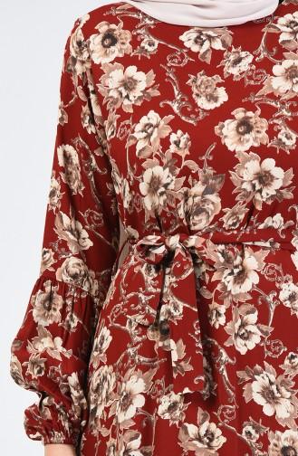 Robe Viscose à Motifs 4533-01 Brique 4533-01