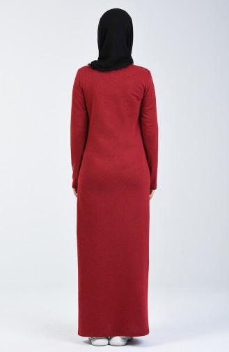 Nakışlı Elbise 3115-10 Bordo