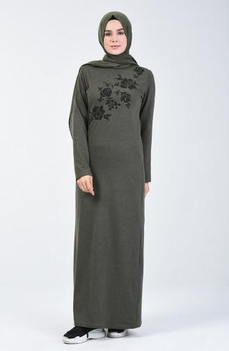 Nakışlı Elbise 3115-11 Haki Yeşil