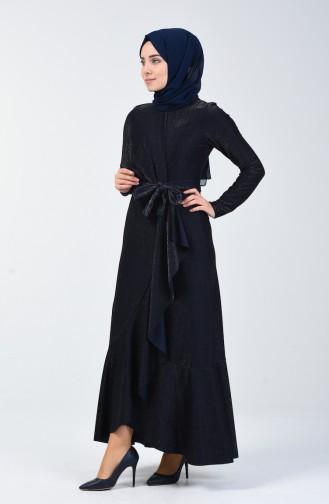 Volanlı Elbise 5116-02 Lacivert 5116-02