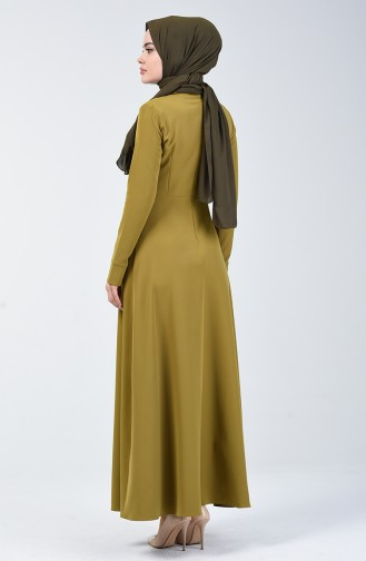 Pointed Collar Flared Dress 301328-03 Oil Green 301328-03