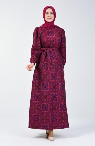 Etnik Desenli Elbise 60089-2 Mor
