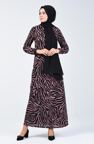 فستان منقوش وردي فاتح 8859-04