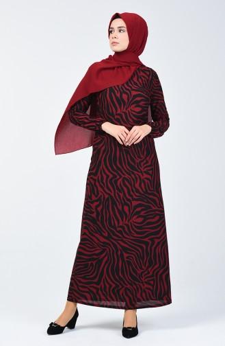 Patterned Dress 8859-05 Burgundy 8859-05