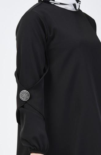 Broş Detaylı Tunik 0050-03 Siyah