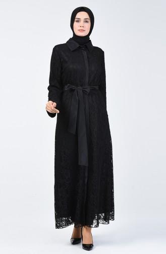 Spitzen Abendkleid Abaya 9402-01 Schwarz 9402-01