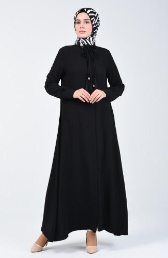 Abaya Détail Franges 6756A-01 Noir 6756A-01