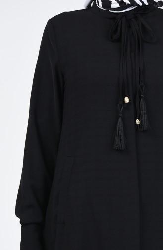 عباية مزينة بشراشيب أسود 6756A-01