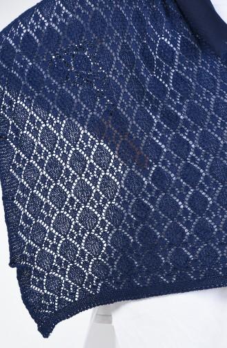 Châle D épaule Tricot 1994-06 Bleu Marine 1994-06