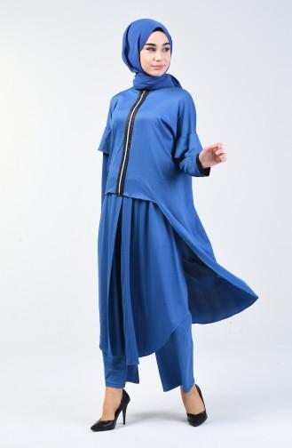 Tunik Pantolon İkili Takım 4374-02 İndigo 4374-02