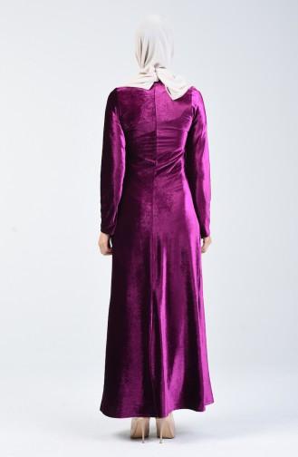Kadife Elbise 5120-01 Fuşya 5120-01