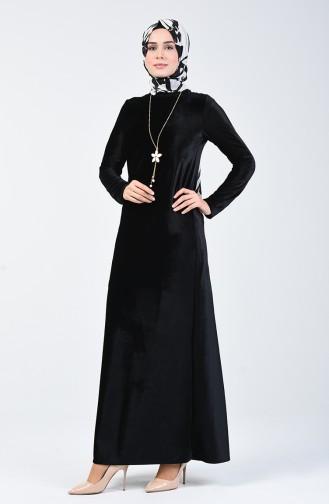 Kadife Elbise 5120-03 Siyah